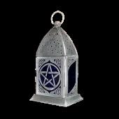 "Glass and metal pentagram lantern 8"" high"