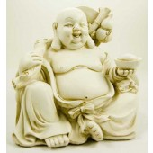 Happy Sitting Ivory Buddha With Gifts 20cm