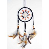 Beaded Black Dream Catcher Star Motif With Feathers 12cm