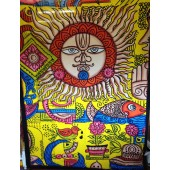 Single Bed Cover With Sun And Fish