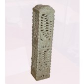 """Soap Stone Carved Incense Tower square 10"""" x 3"""""""