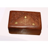 """Hand Crafted Wooden Jewellery Box With Engraved Brass Inlay 4"""" x 2"""""""