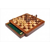 Magnetic Wooden Travel Chess Set With Pull Out Drawer 12cm